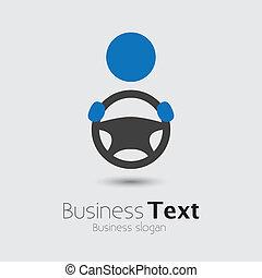 roue, ou, sien, cabbie, voiture, business, espace, texte, graphic., véhicule, chauffeur, symbol-, main, vecteur, illustration, tenue, automobile, slogan, icône, direction, spectacles