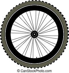 roue, pneu, isolé, vélo, spokes, blanc