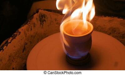 roue poterie, brûlé, céramique, shots., grande tasse, 2
