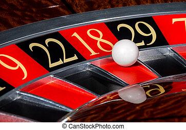 roue, secteur, classique, roulette, 18, casino, dix-huit, rouges