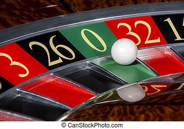 roue, secteur, classique, roulette, casino, zéro