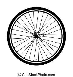 roue, silhouette, vélo