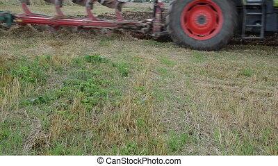 roue, tracteur, charrue