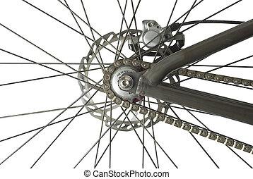 roue, vélo, dos