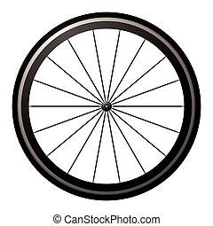 roue, vélo, route