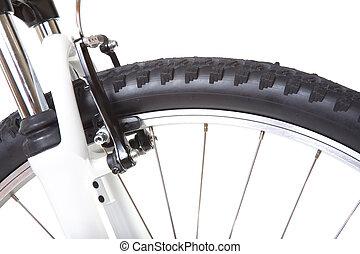 roue, vélo tout terrain, isolé, pneu