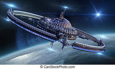 roue, vaisseau spatial, futuriste