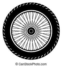 roue, vecteur, motocyclette