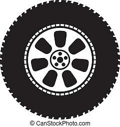 roue, vecteur, -, pneu
