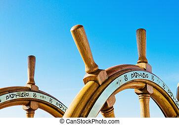 roue, vieux, voile, haut, vaisseau, fin, direction