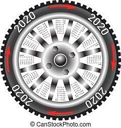 roue, voiture, 2020, année, noir, calendrier