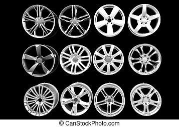 roue, voiture, aluminium, rims