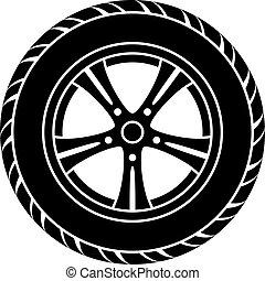 roue, voiture, symbole, vecteur, noir, blanc