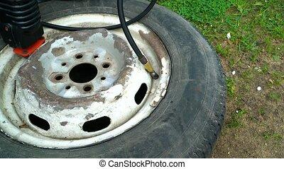 roue, voiture, vieux, pompage, compresseur