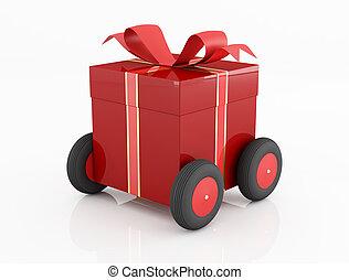 roues, boîte-cadeau, rouges