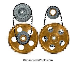 roues dentées, deux, engrenage