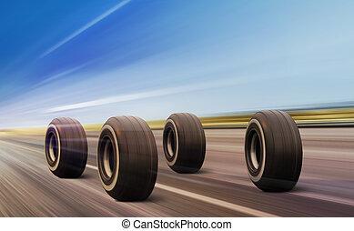 roues, en mouvement, route