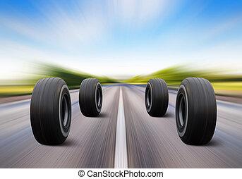 roues, vitesse, jonc, route