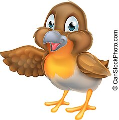 rouge-gorge, oiseau, pointage, dessin animé