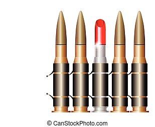 rouge lèvres, balle, ceinture