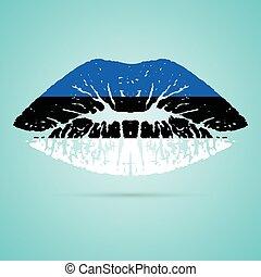 rouge lèvres, drapeau estonie, isolé, arrière-plan., lèvres, vecteur, blanc, illustration.