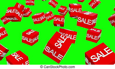 rouge vert, tourner, cubes, vente, écran, concept