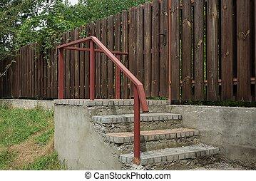 rouges, étapes, rampes, béton, ir, fer, gris