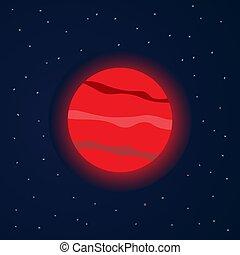 rouges, étoilé, espace, planète