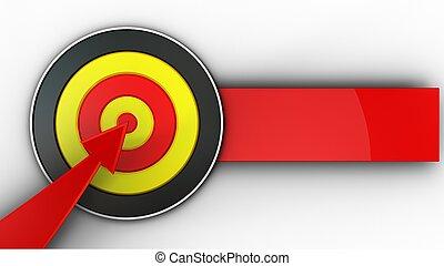 rouges, 3d, cible, flèche, rond