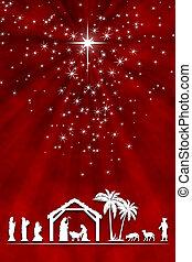 rouges, adoration, carte, salutation, blanc, nativité, noël, shepherd., magi, arrière-plan., scène
