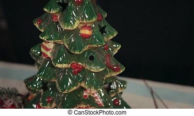 rouges, arbre, gui, arbre., cônes, houx, sapin, branches, blanc, pin, neige