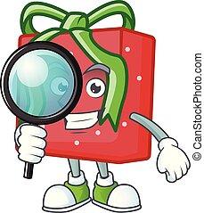 rouges, cadeau, style, caractère, dessin animé, une, détective, oeil, boîte