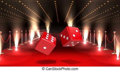 rouges, casino, lumières, clignotant, dés, moquette