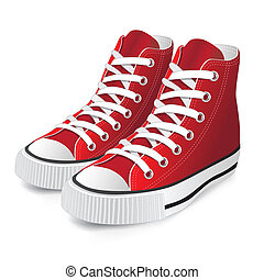 rouges, chaussure, sports