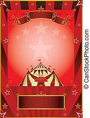 rouges, cirque, vendange, affiche