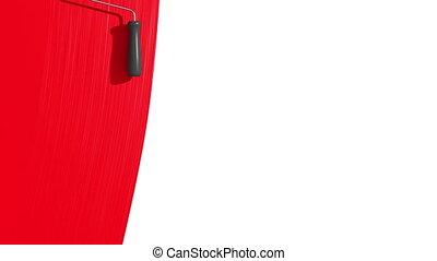 rouges, color., peinture, rouleau