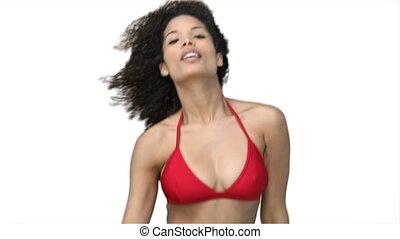 rouges, danse femme, bikini