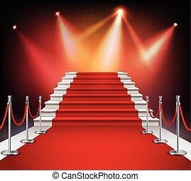 rouges, escalier, moquette