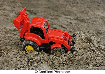 rouges, excavateur