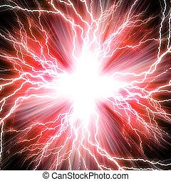 rouges, flash, électrique, fond, éclair