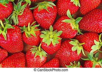 rouges, fraises, background:, nourriture