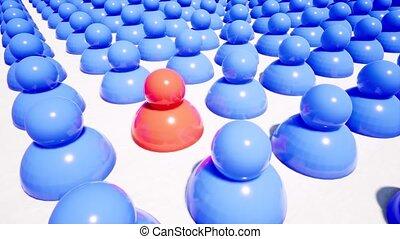 rouges, gens, bleu, métrage, figures