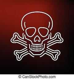 rouges, icône, fond, crâne, danger