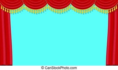 rouges, lambrequin, pelmet, rideaux