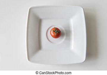 rouges, mûre, tomate, blanc, gros plan, plaque, juteux