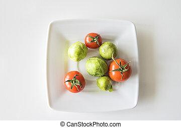 rouges, mûre, tomate verte, blanc, gros plan, bruxelles, plaque, pousses, juteux