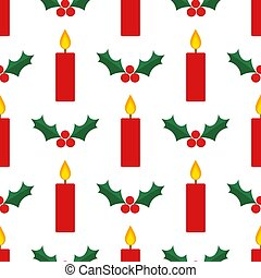 rouges, noël, pattern., feuilles, houx, seamless, bougies