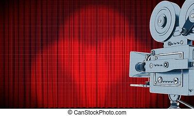 rouges, ouverture, projecteur, rideaux, animation