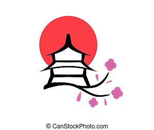 rouges, pagode, fleurs, cercle, paysage, japonaise, japon, symbolization, sakura