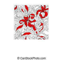 rouges, papier peint, seamless, floral